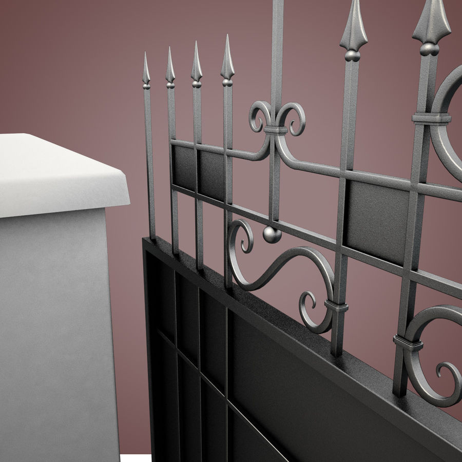 Wrought Iron Driveway Gate royalty-free 3d model - Preview no. 13