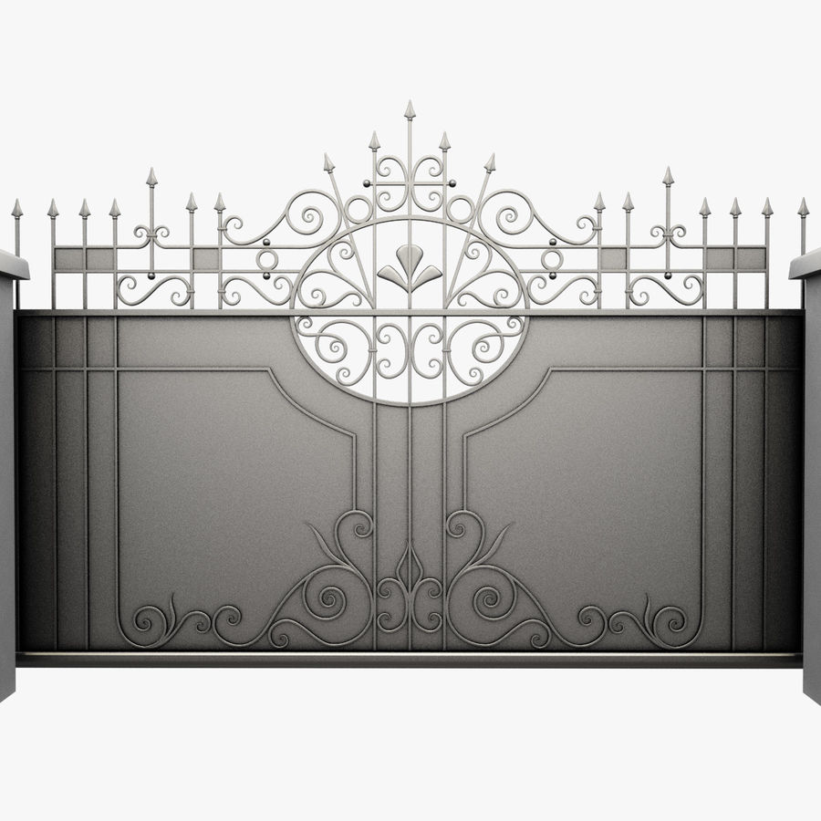 Wrought Iron Driveway Gate royalty-free 3d model - Preview no. 3