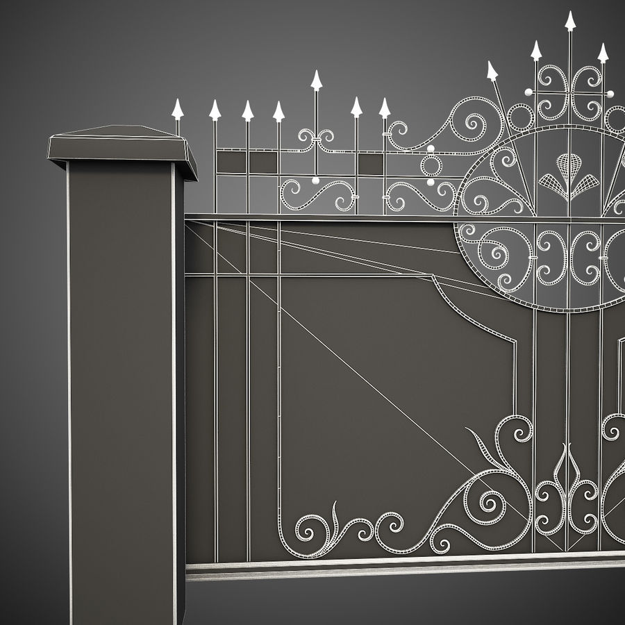 Wrought Iron Driveway Gate royalty-free 3d model - Preview no. 16