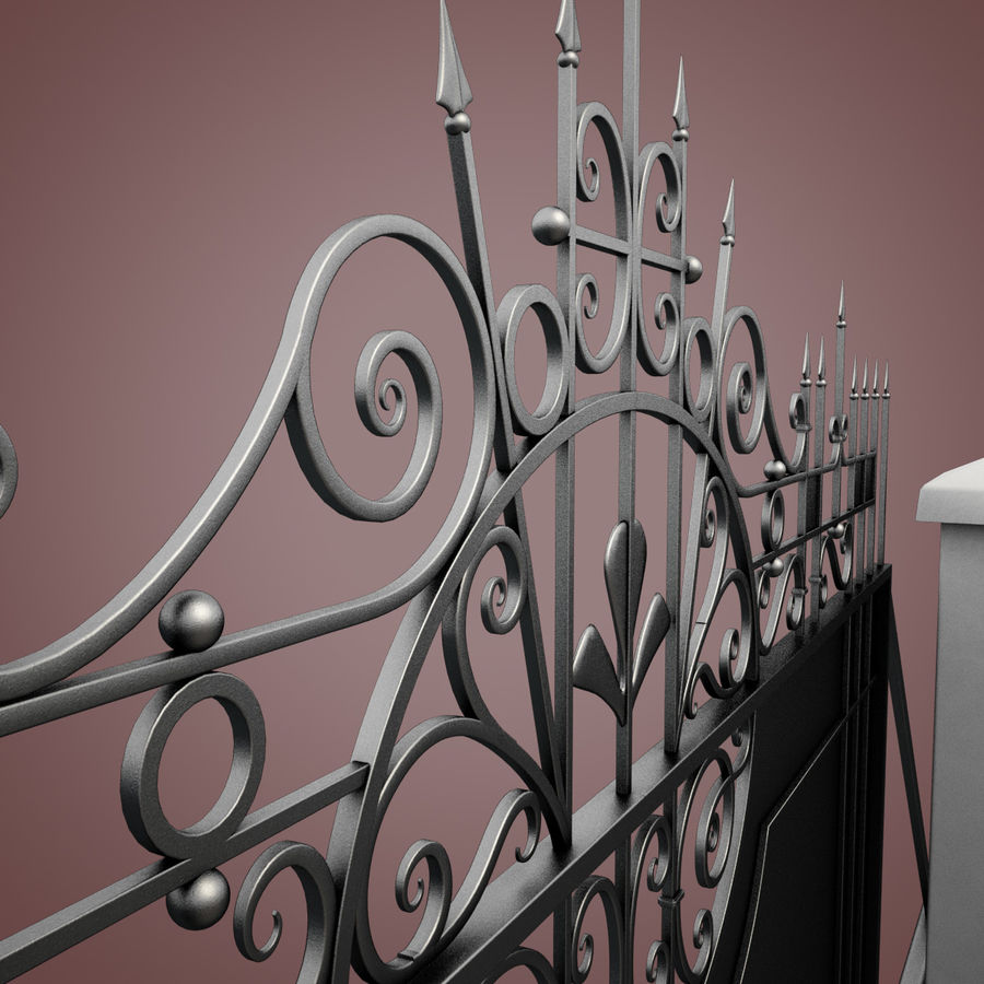 Wrought Iron Driveway Gate royalty-free 3d model - Preview no. 15