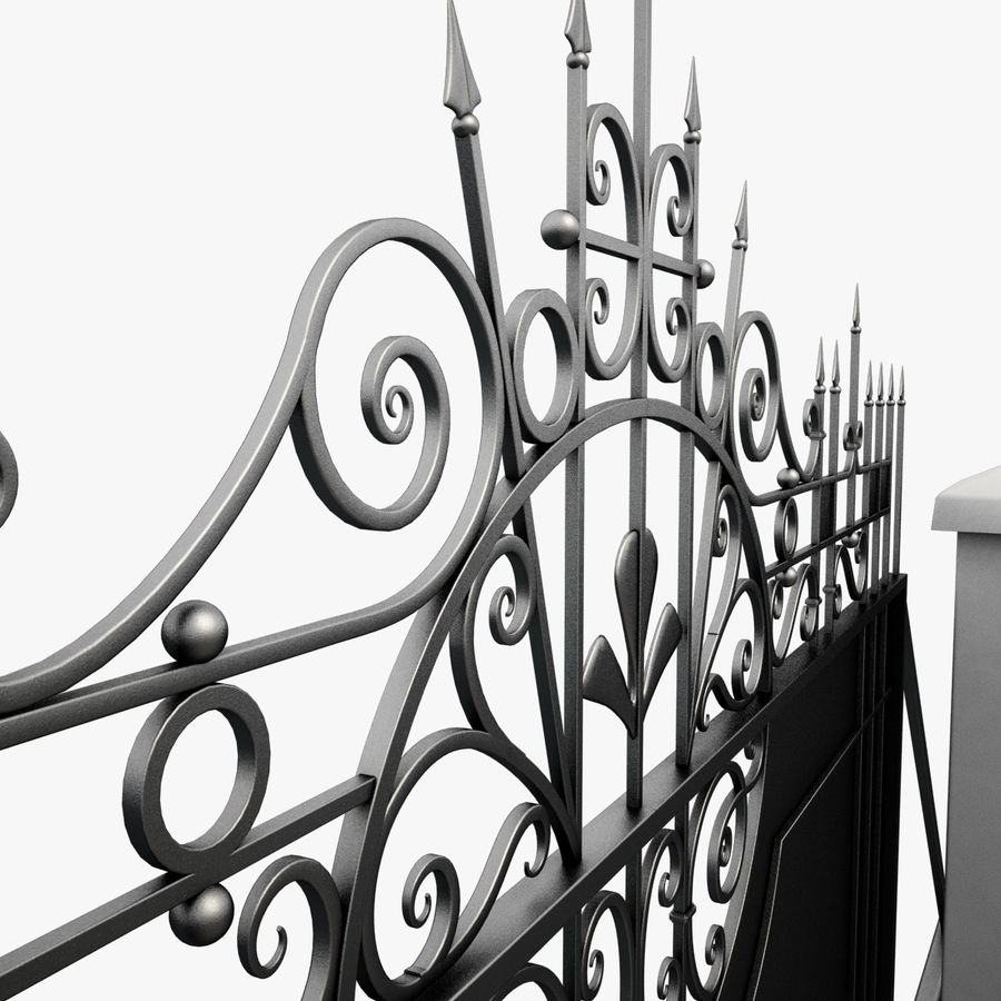 Wrought Iron Driveway Gate royalty-free 3d model - Preview no. 9