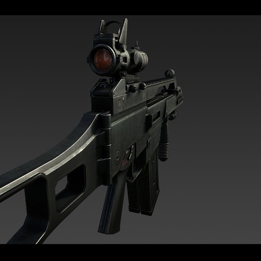 Assault rifle royalty-free 3d model - Preview no. 7