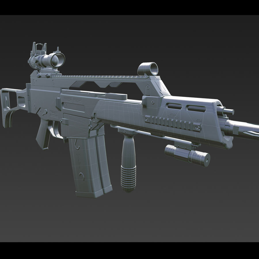 Assault rifle royalty-free 3d model - Preview no. 16