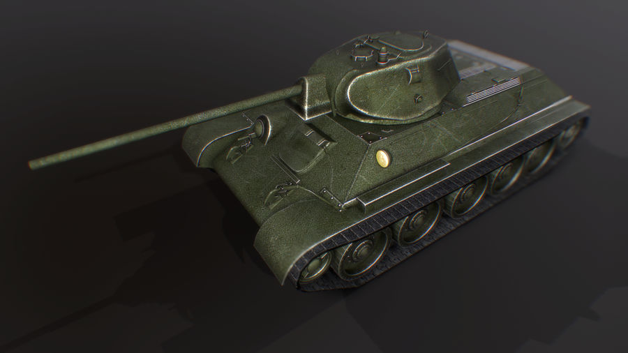タンク、T34低ポリ royalty-free 3d model - Preview no. 9