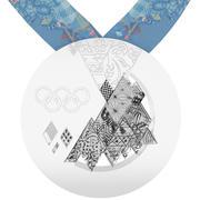 Medalha de prata dos Jogos Olímpicos de Inverno de Sochi em 2014 3d model