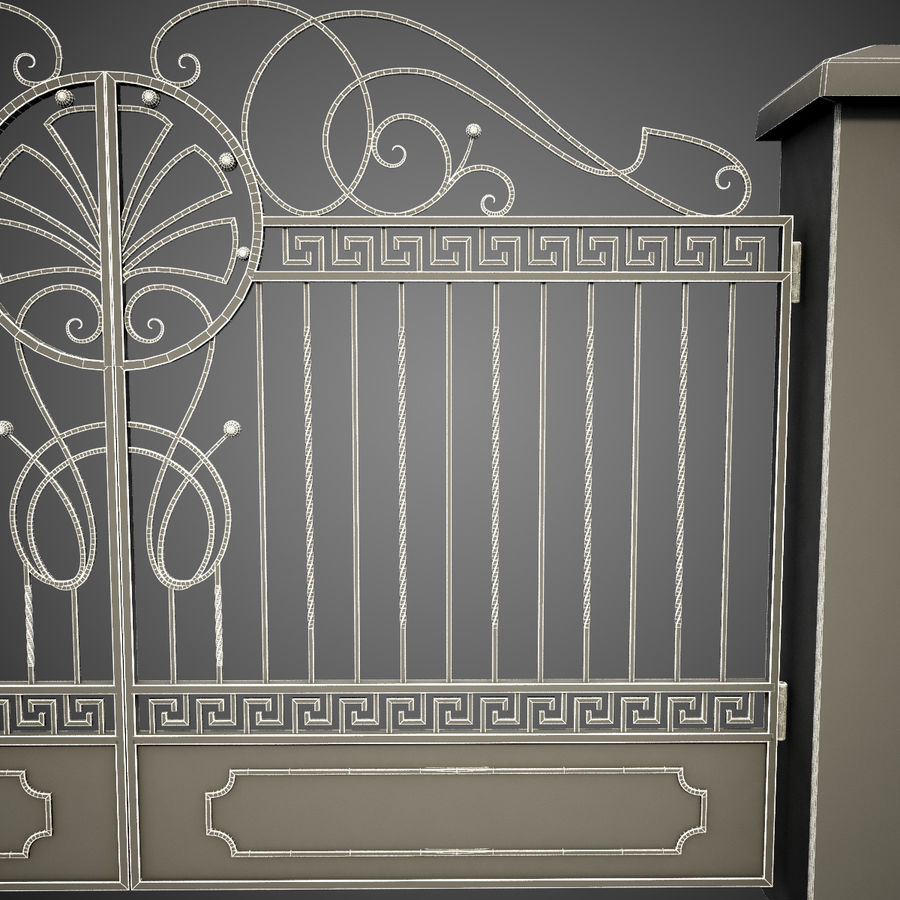 Wrought Iron Gate 6 royalty-free 3d model - Preview no. 16