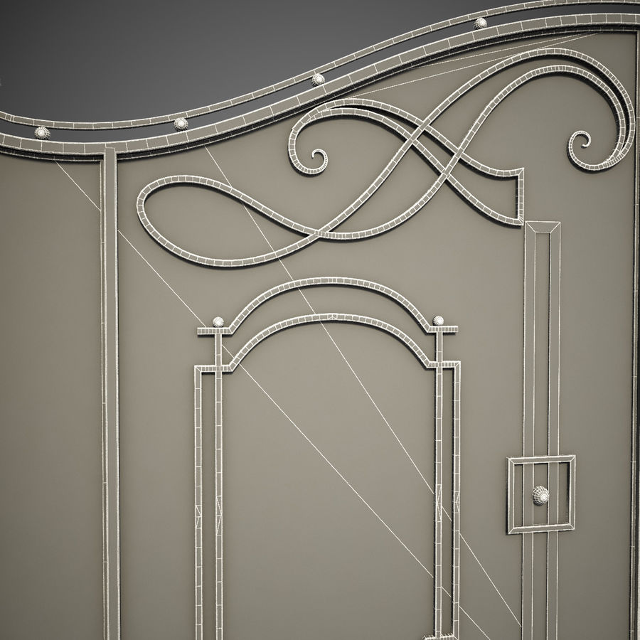 Wrought Iron Gate 7 royalty-free 3d model - Preview no. 5