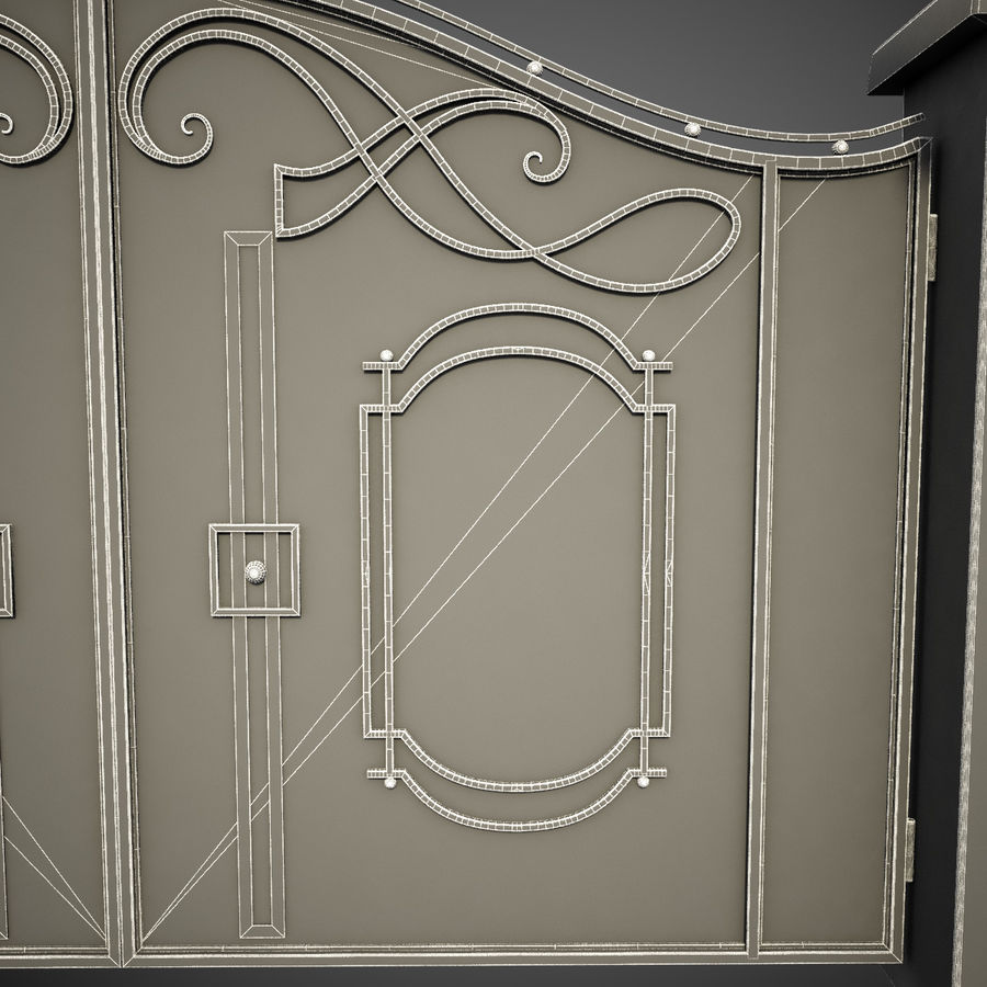 Wrought Iron Gate 7 royalty-free 3d model - Preview no. 12