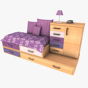Compact Drawer Cabinet Bed Set 3d model