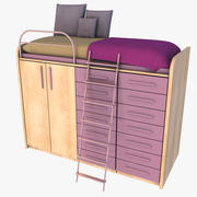 Compact Bed And Wardrobe 3d model