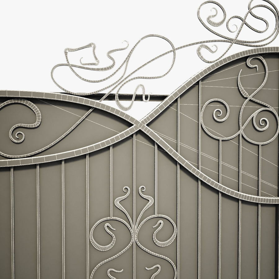 Wrought Driveway Iron Gate 3 royalty-free 3d model - Preview no. 10