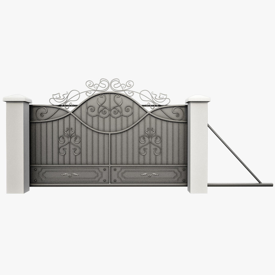 Wrought Driveway Iron Gate 3 royalty-free 3d model - Preview no. 1