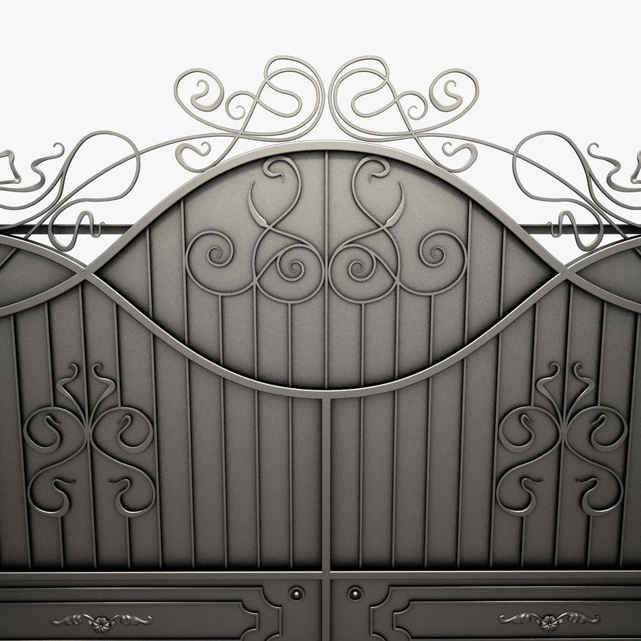 Wrought Driveway Iron Gate 3 royalty-free 3d model - Preview no. 5