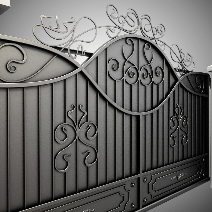 Wrought Driveway Iron Gate 3 royalty-free 3d model - Preview no. 9
