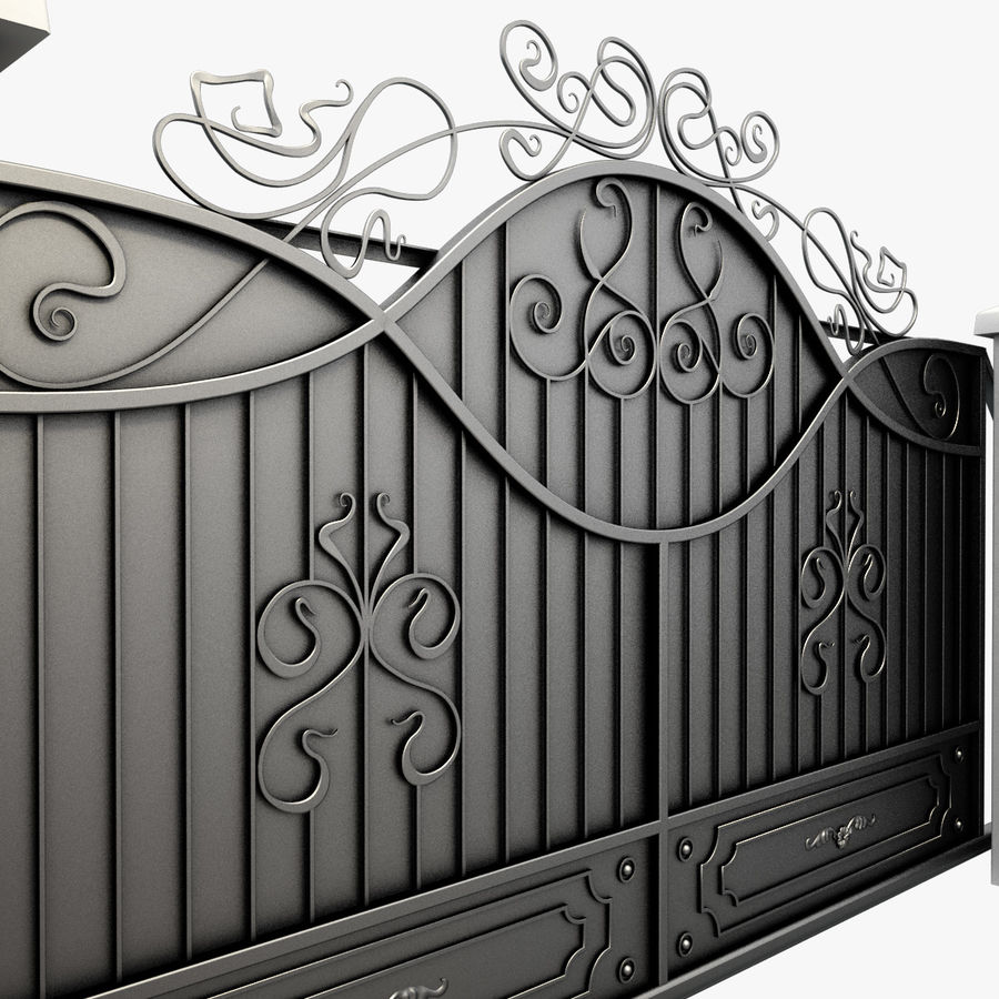Wrought Driveway Iron Gate 3 royalty-free 3d model - Preview no. 6