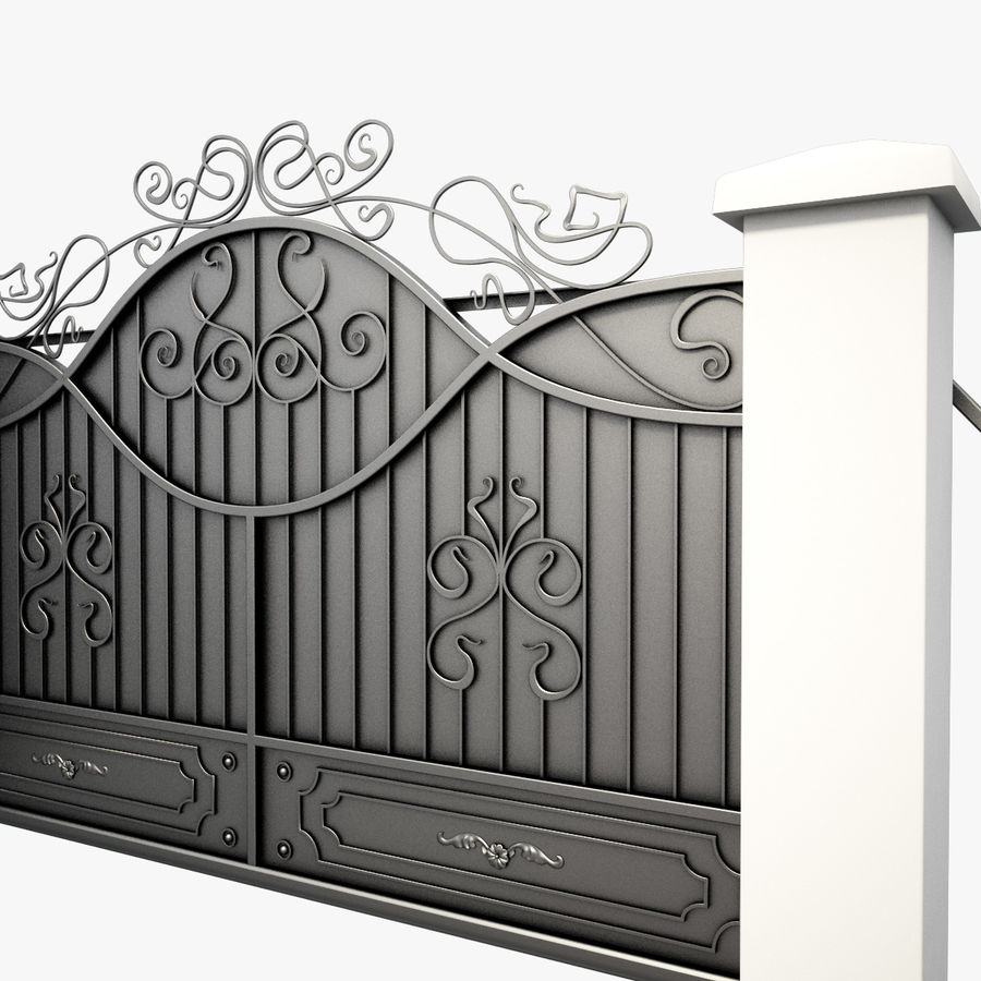 Wrought Driveway Iron Gate 3 royalty-free 3d model - Preview no. 4