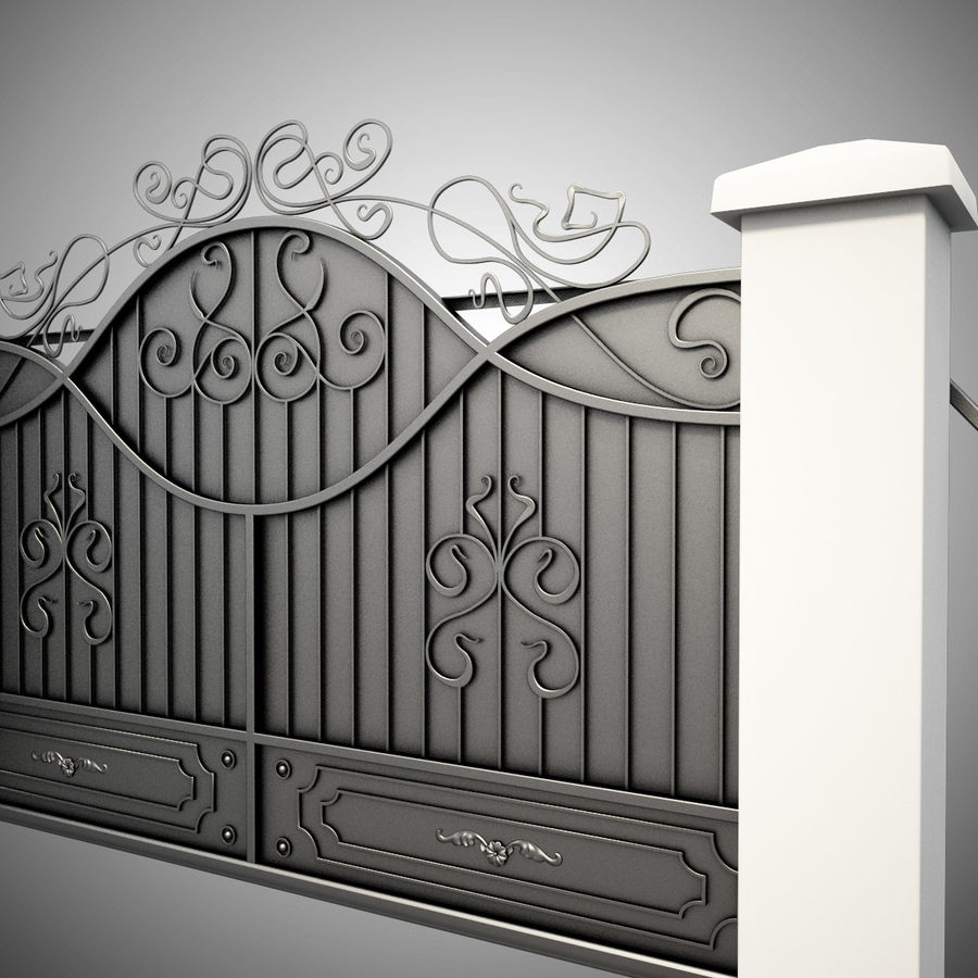 Wrought Driveway Iron Gate 3 royalty-free 3d model - Preview no. 3