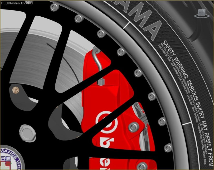 Wheel HRE Yokohama tire Brembo brakes royalty-free 3d model - Preview no. 3
