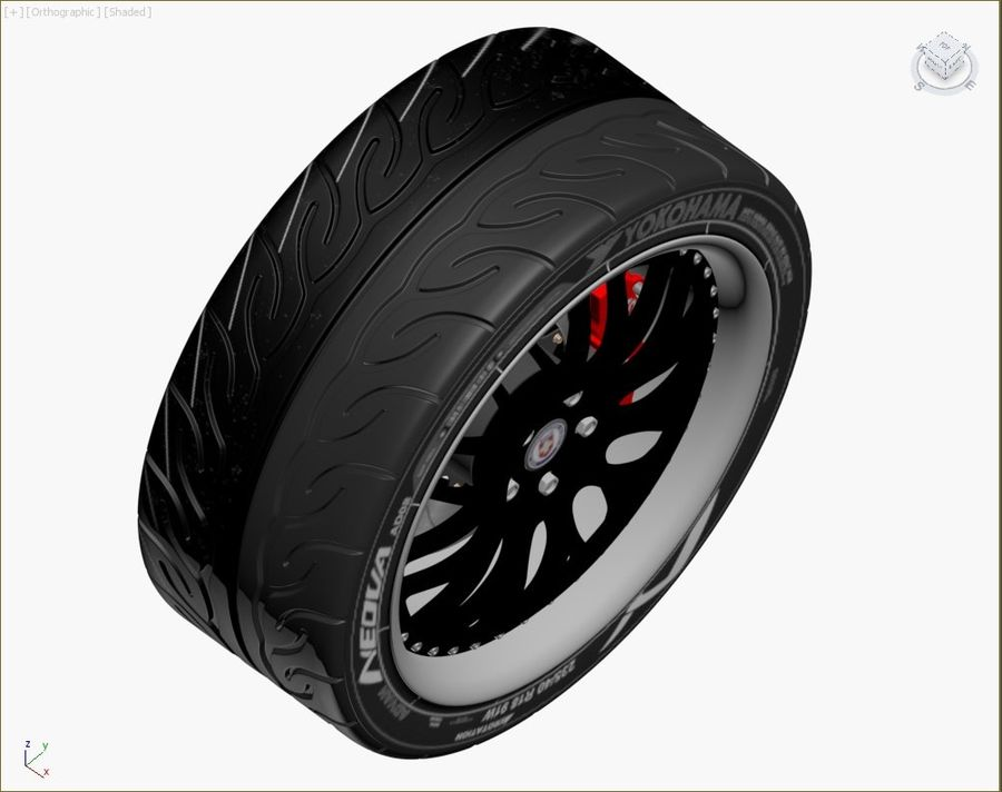 Wheel HRE Yokohama tire Brembo brakes royalty-free 3d model - Preview no. 6