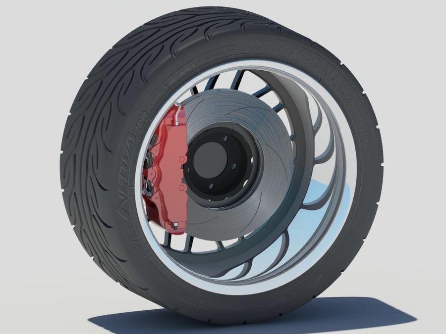 Wheel HRE Yokohama tire Brembo brakes royalty-free 3d model - Preview no. 7