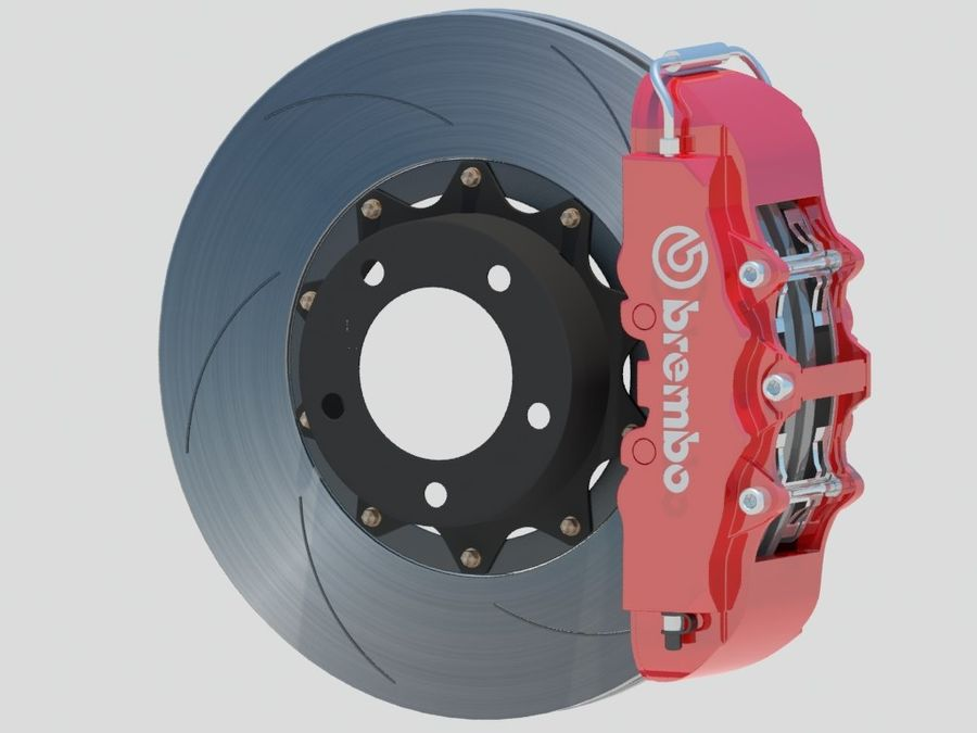 Wheel HRE Yokohama tire Brembo brakes royalty-free 3d model - Preview no. 9