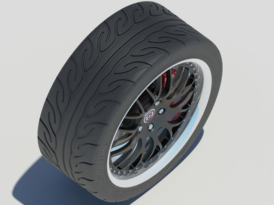Wheel HRE Yokohama tire Brembo brakes royalty-free 3d model - Preview no. 5
