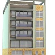 Detallado edificio moderno de 6 pisos modelo 3d
