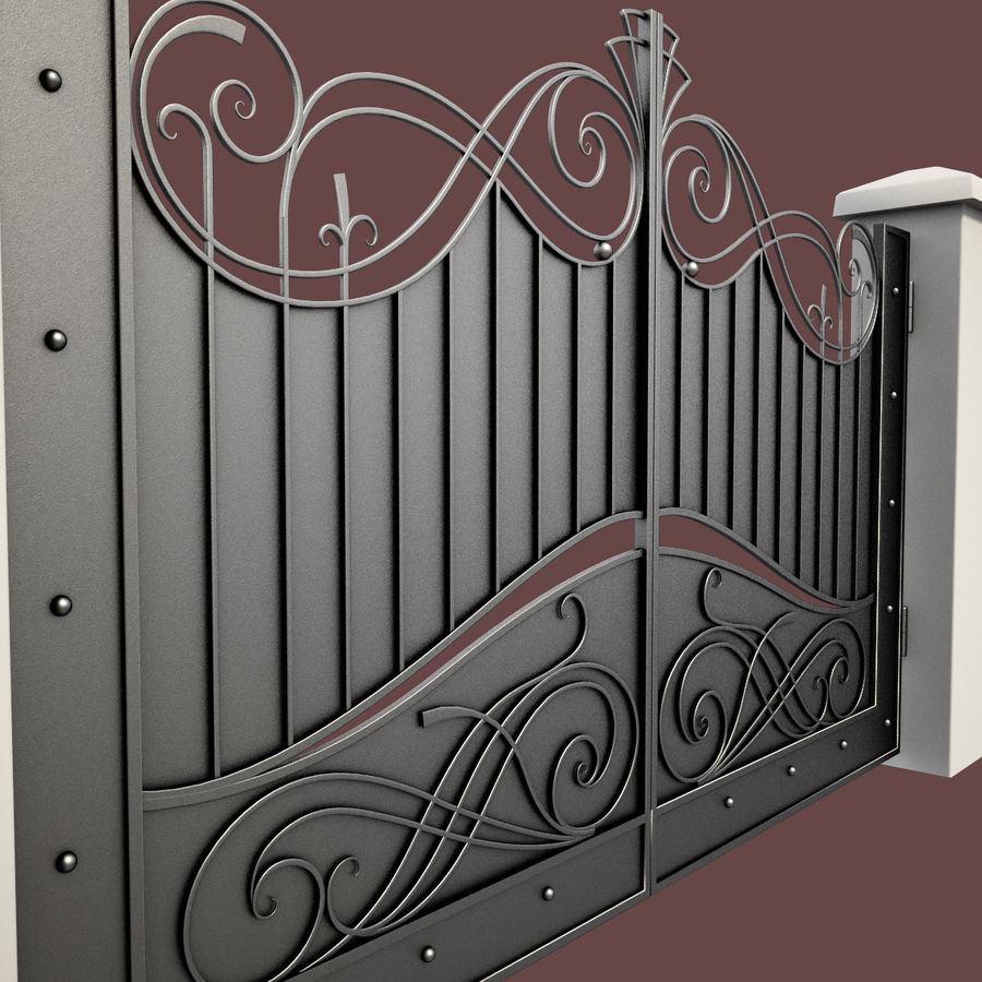 Wrought Iron Gate 10 royalty-free 3d model - Preview no. 3