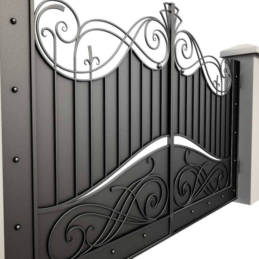 Wrought Iron Gate 10 royalty-free 3d model - Preview no. 2