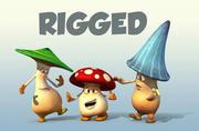마야 3 버섯 만화 캐릭터 3d model