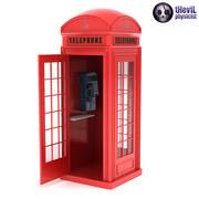 Cabine de telefone vermelho britânico com telefone 3d model