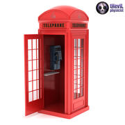 British Red Phone Booth with Telephone 3d model