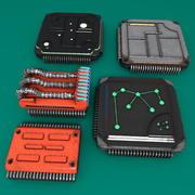 5 vecchi chip del processore del computer usurati 3d model