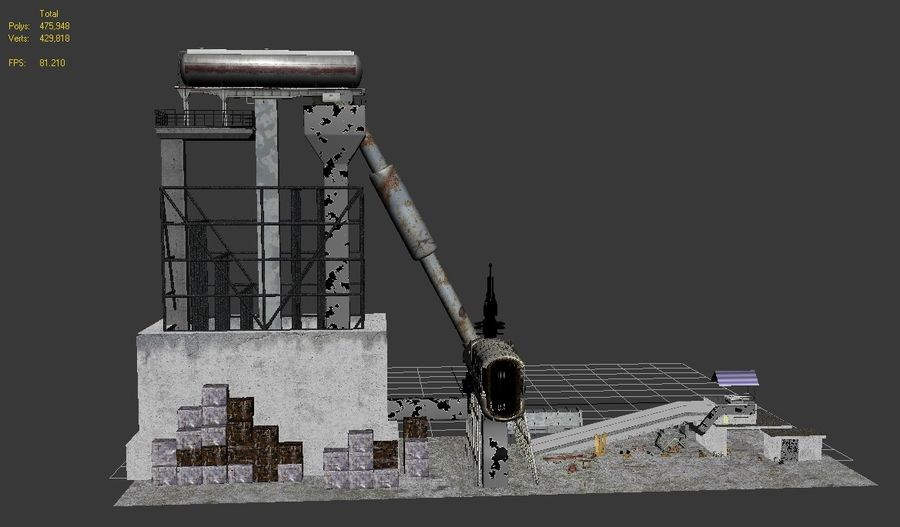 Recycling Plant Facility royalty-free 3d model - Preview no. 3