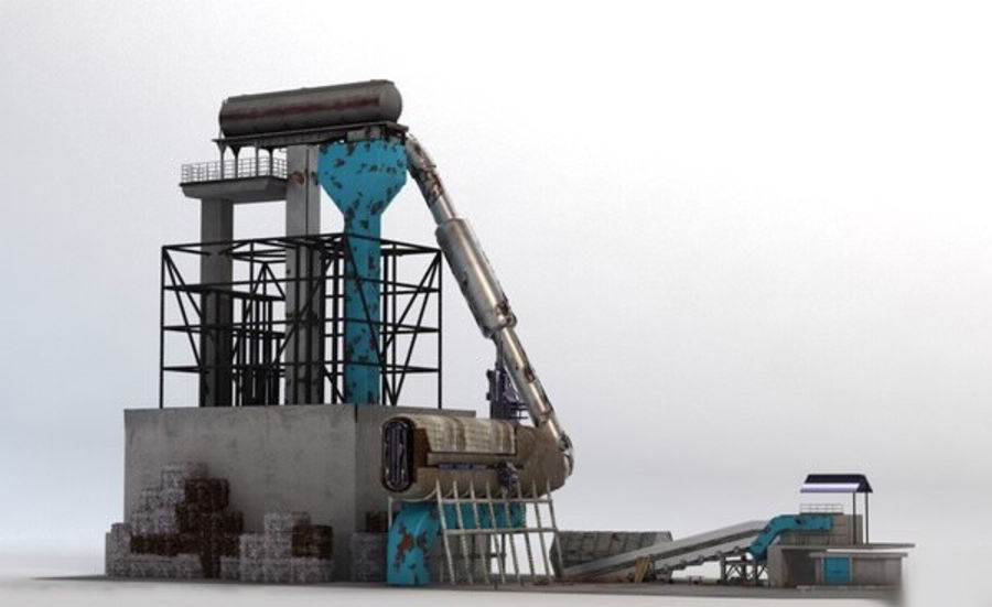 Recycling Plant Facility royalty-free 3d model - Preview no. 1