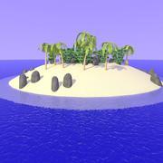 2nd Cartoon Desert Island 3d model