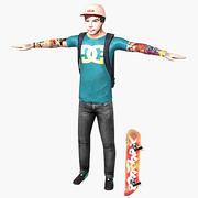 Personnage masculin de patineur 3d model