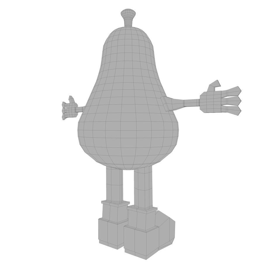 緑色の洋ナシの漫画のキャラクター royalty-free 3d model - Preview no. 17
