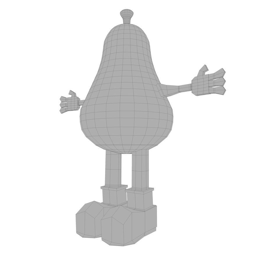 緑色の洋ナシの漫画のキャラクター royalty-free 3d model - Preview no. 15
