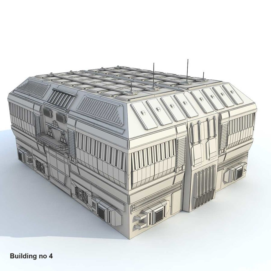 Sci-Fi City Buildings Futuristic royalty-free 3d model - Preview no. 4