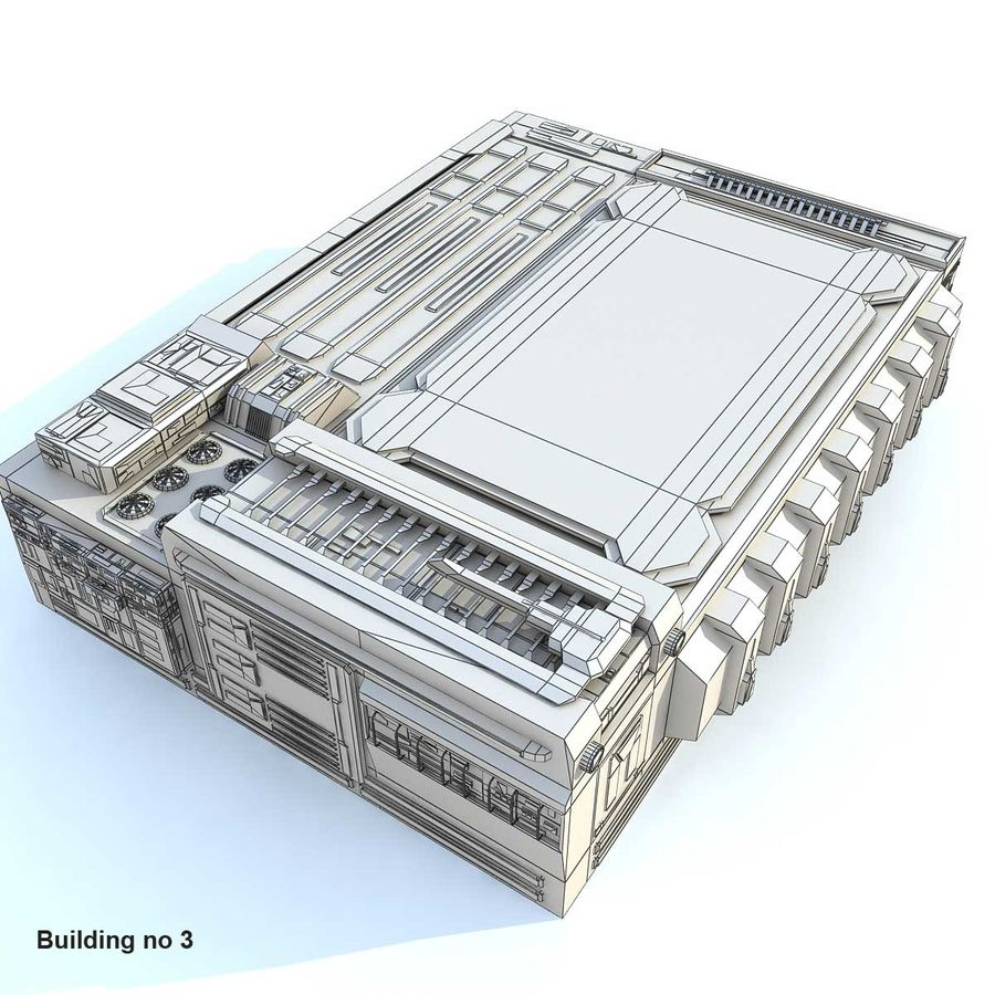 Sci-Fi City Buildings Futuristic royalty-free 3d model - Preview no. 3
