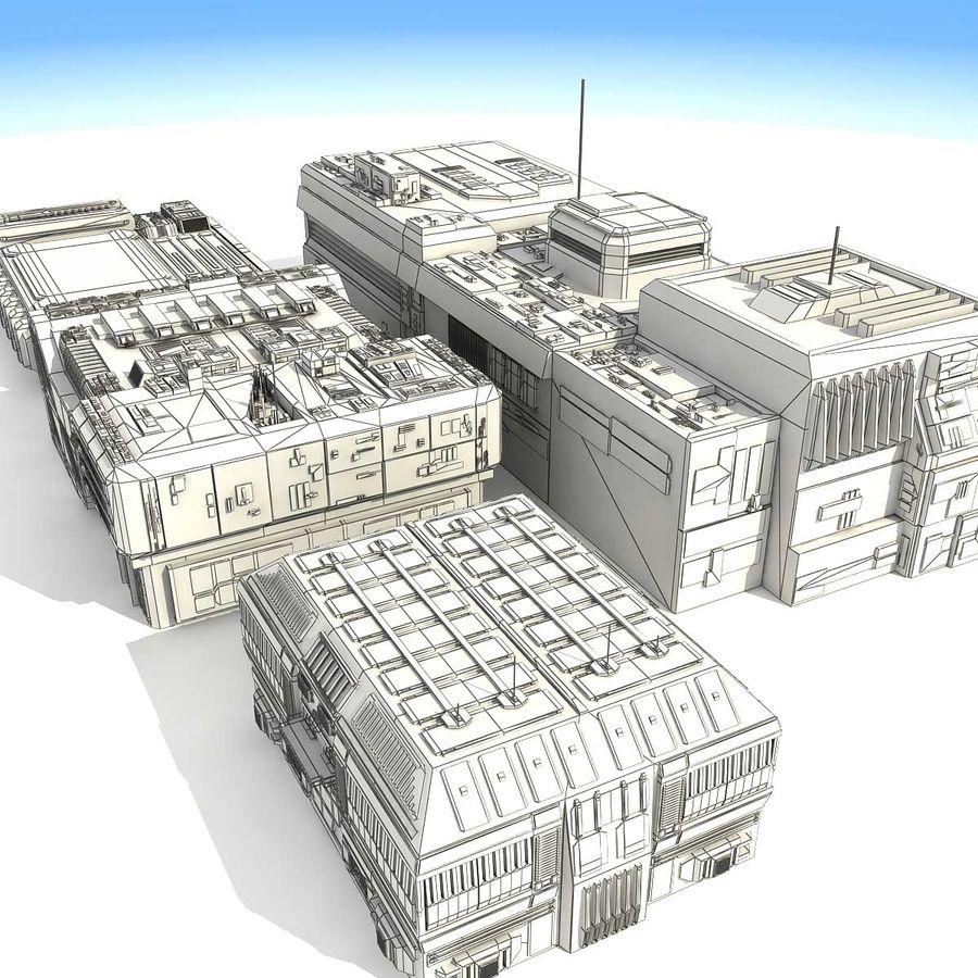 Sci-Fi City Buildings Futuristic royalty-free 3d model - Preview no. 28