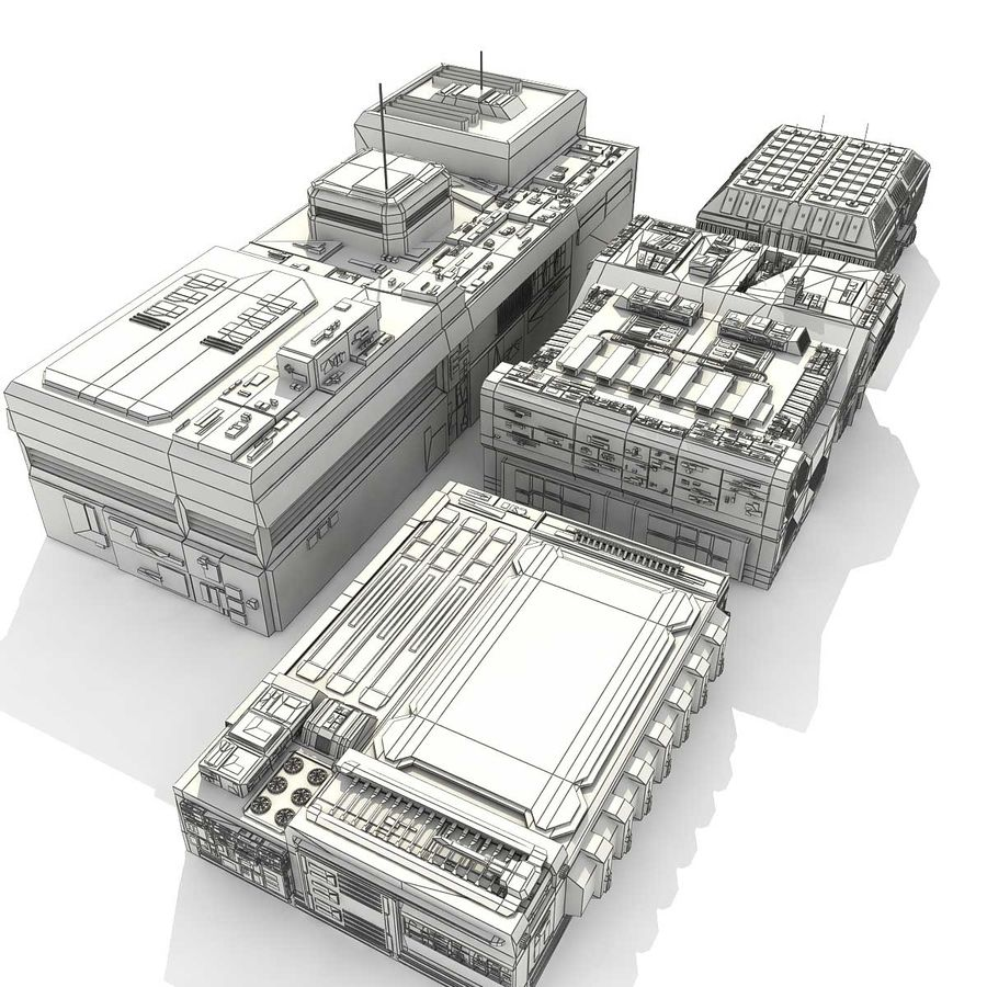 Sci-Fi City Buildings Futuristic royalty-free 3d model - Preview no. 27