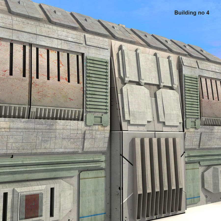 Sci-Fi City Buildings Futuristic royalty-free 3d model - Preview no. 24