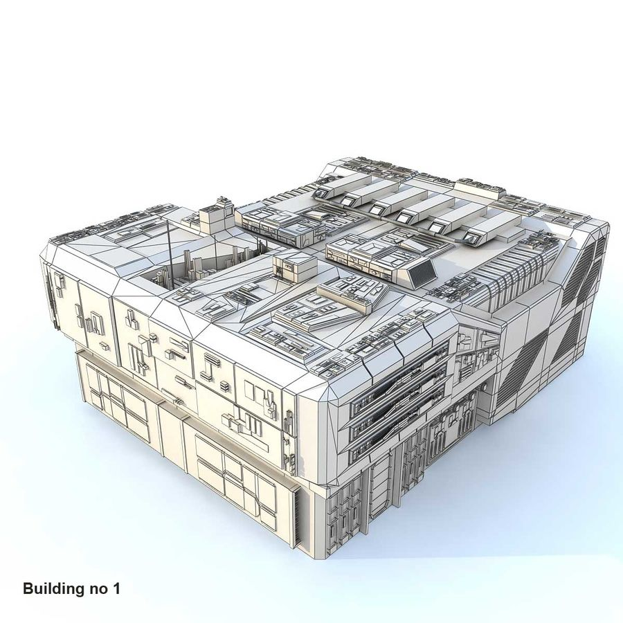 Sci-Fi City Buildings Futuristic royalty-free 3d model - Preview no. 1