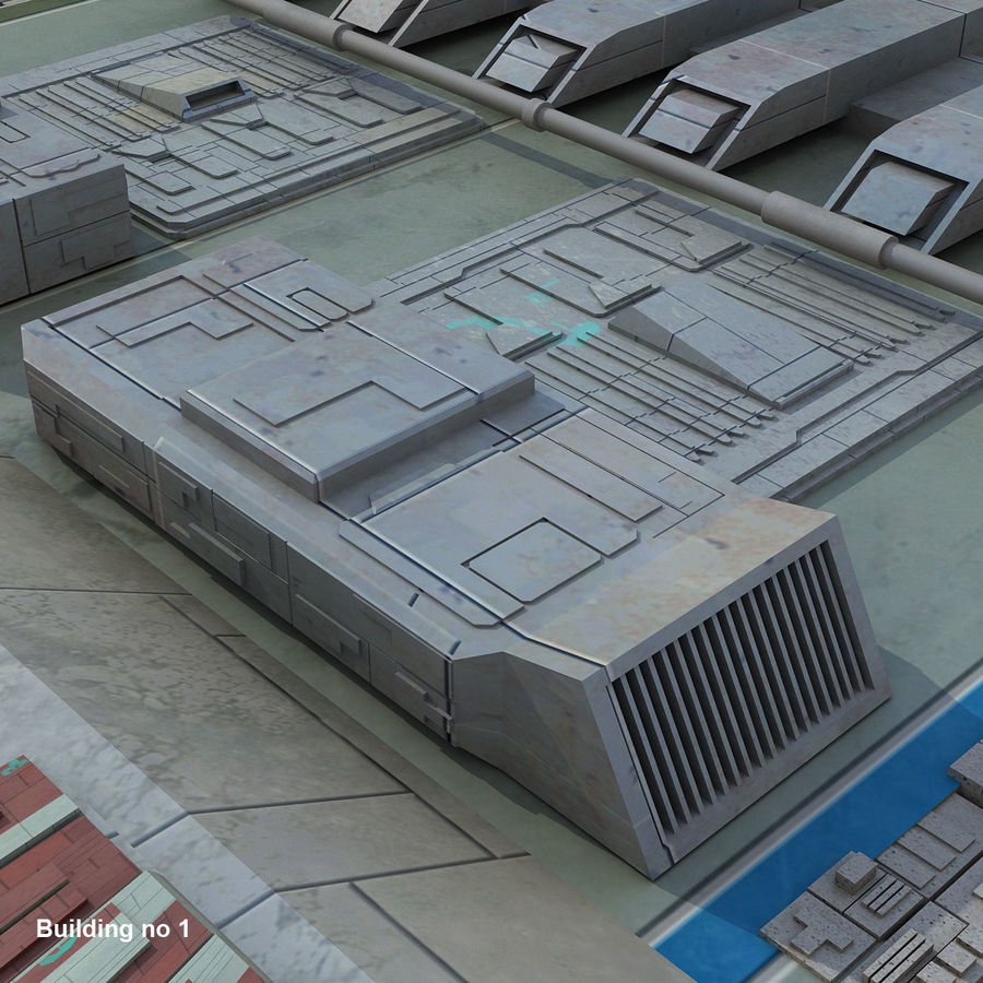 Sci-Fi City Buildings Futuristic royalty-free 3d model - Preview no. 10