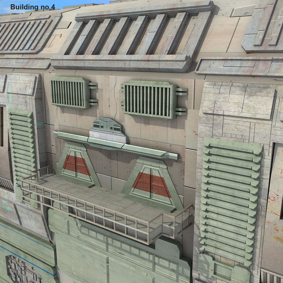 Sci-Fi City Buildings Futuristic royalty-free 3d model - Preview no. 25
