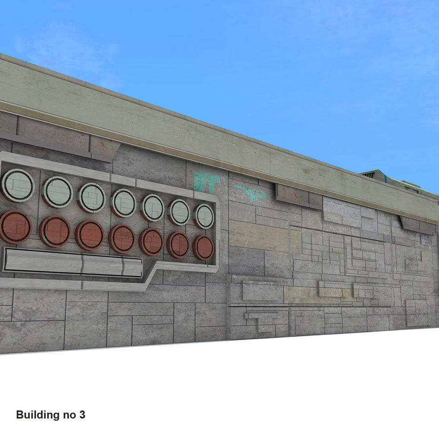 Sci-Fi City Buildings Futuristic royalty-free 3d model - Preview no. 21