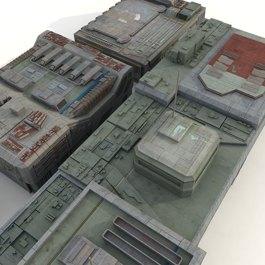Sci-Fi City Buildings Futuristic royalty-free 3d model - Preview no. 7
