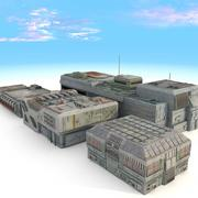 Ciudad de ciencia ficción edificios futurista modelo 3d